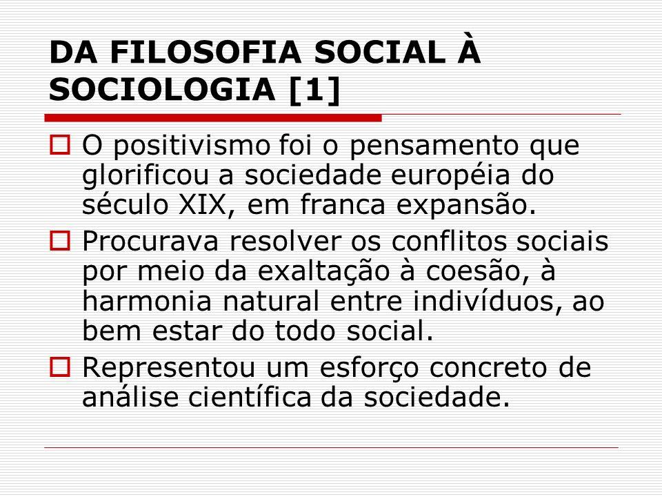 DA FILOSOFIA SOCIAL À SOCIOLOGIA [1]